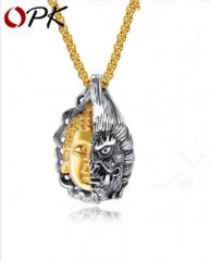 African trend men's necklace personality domineering tide semi-magic pendant golden 3*55cm