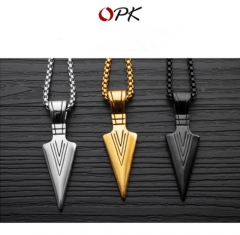 OPK titanium steel jewelry retro personality spearhead pendant men's necklace golden 3*55cm