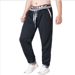 New style men's sweatpants casual hit color stitching sports trousers black L