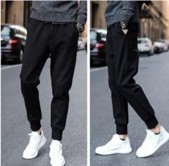 New men's trousers thin section Slim feet sports pan ts summer men's nine points casual pants black M