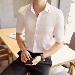 Youth popular spring five-point sleeves Slim casual youth pointed collar solid color shirt white L