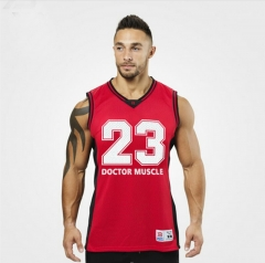 Men's summer new basketball clothing sports vest tight-fitting male vest red M
