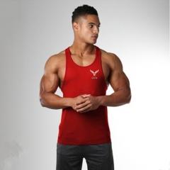 Summer men's fitness sports bodybuilding loose word vest cotton red M