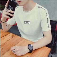 New short-sleeved T-shirt men's short-sleeved shirt trend slim round neck summer men's clothing embroidery white M