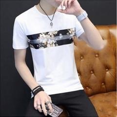 Summer men's short sleeve T-shirt print trend men's casual slim round neck men's short sleeve mosaic white M