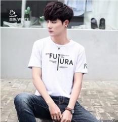 Summer men's short sleeve T-shirt Korean print trend casual slim round neck men's short sleeve FUTUR white M