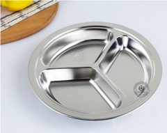 304 stainless steel snack plate deepen children's compartment plate school cafeteria tableware stainless steel 26*26*3.3cm