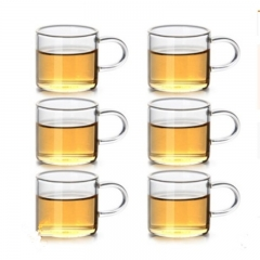 Six sets of small handles of high temperature resistant coffee cups glass and water cups transparent color 6 pieces