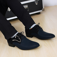 Men's pointed leather shoes British black and white leisure fashion trend men's Wedding Shoes Size black blue 38