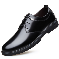New leather shoes men's business formal men's shoes round head low top lace shoes black 38