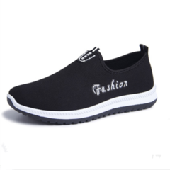 Walking, leisure and skid-proof cloth shoes sport, one foot pedaling, lazy men's flat sole shoes black 39