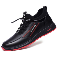 New Running Men's Shoes Leisure Sports Shoes Fashion Leisure Shoes for Men leather black 44