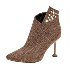 New Super High-heeled Women's Boots Tip Water Drill Shoes Fine-heeled Side Zipper Martin Boots brown 37