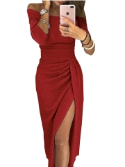 Ms package buttocks open neckline sexy dress sparkling dress dress evening dress red M