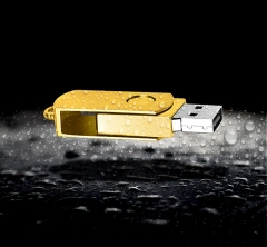 Pure metal waterproof high speed flash disk  and mini mobile flash drive golden one size 16gb