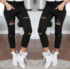 New 2016 Women's Skinny Jeans Pencil Pants Casual Trousers Black White Stretch Ripped Jeans black s