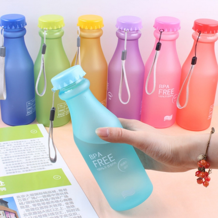 Colorful fashion Frosted Leak-proof Plastic kettle 550mL Portable Water Bottle for motion