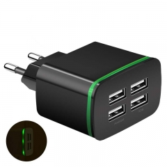 USB Charger for huawei oukitel tecno Android 5V 4A 4-Ports Mobile Phone Universal Fast Charge LED black 4-Ports