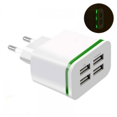 USB Charger for huawei oukitel tecno Android 5V 4A 4-Ports Mobile Phone Universal Fast Charge LED white 4-Ports