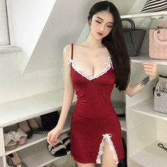 Sexy goddess V-neck low-cut bow lace side camisole bottoming pajamas dress(Buy one get one free) red one size