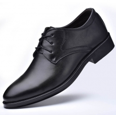 2018 new men's leather shoes business dress men's shoes with wild casual shoes black 38