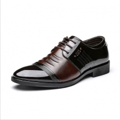 Classic Men Dress Shoes Genuine Leather Texture Wine Red Shiny Low Cut Business Shoes brown 38