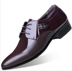 Men's 2018 new patent leather glossy black breathable business dress casual shoes brown 38