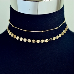 New summer women's fashion pop round double-layer necklace bead chain gold free size