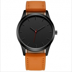 Fashion Large Dial Military Quartz Men Watch Leather Sport watches High Quality Clock Wristwatch black brown