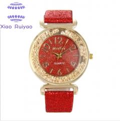 2018 Best Selling Watch Fashion Women Watches Crystal Rhinestone Stainless Steel Quartz WristWatches red