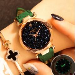 New Casual Fashion Quartz Watch Starry Sky Multicolor Leather Wristwatch Simple Designer Women Clock green