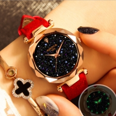New Casual Fashion Quartz Watch Starry Sky Multicolor Leather Wristwatch Simple Designer Women Clock red