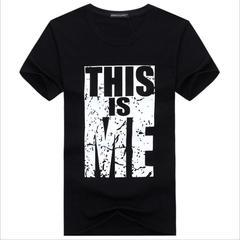 Summer Short Sleeve T-Shirt Men's Cotton Round Neck Print Slim Half Sleeve - Clothes black1 s
