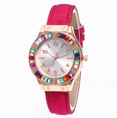 Women leather Watches Casual Female Colored diamond Leather Bracelet Quartz Wrist Watch Clock rose one size