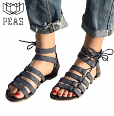 Women Sandals Flat With Shoes Lady Sandals Peep-Toe Outdoor women's summer footwear Shoes black 35