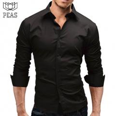 Brand Male Shirt Long-Sleeves Tops Slim Casual Solid Color Mens Dress Shirts Slim Business Men Shirt black m