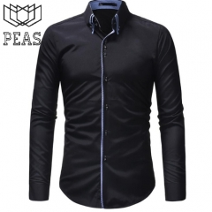 Men Shirt Long Sleeves Solid color Shirts Autumn Brand Casual Male Shirt Tops 3XL black m