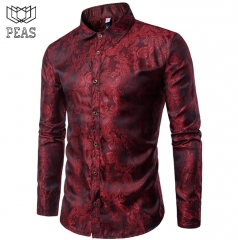 Men's Embroidered Dress Shirt Fashion Slim Wedding Party Business Men's Long Sleeve Shirt red m