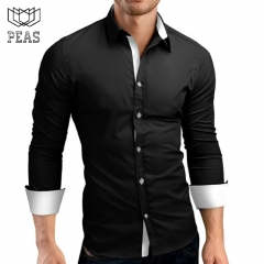 Brand Male High Quality Long Sleeve Shirts Casual Hit Color Slim Fit Black Man Dress Shirts 4XL black m