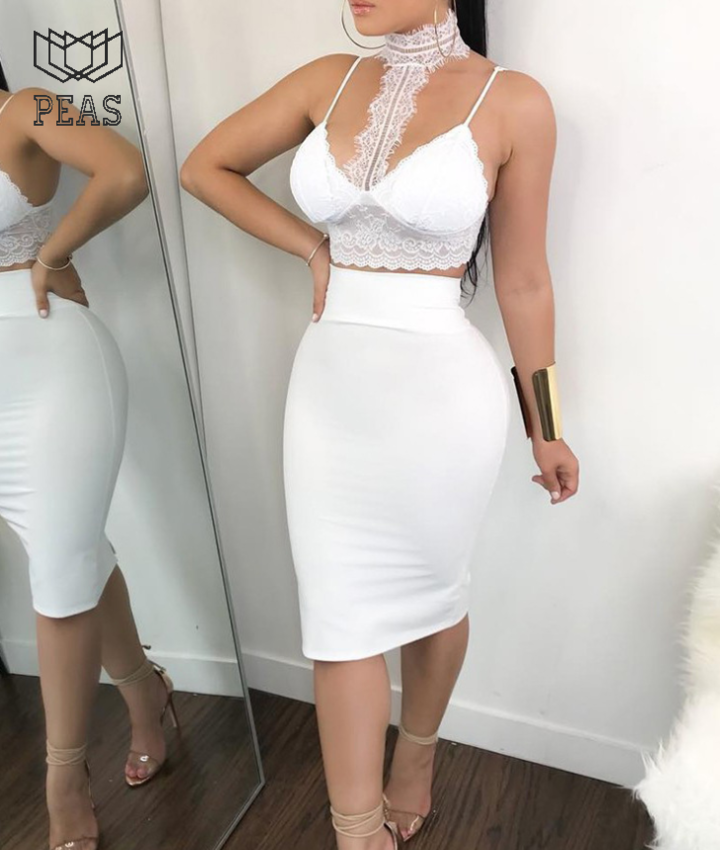 dd8268cdcc46d Women Ladies 2 Piece Lace Bodycon Two Piece Outfits Sleeveless Shirt Crop  Tops Party Clothing white s