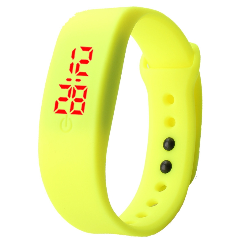 Chong Kai new fashion men and women silicone silicon strap watch sports bracelet digital LED watch yellow 7
