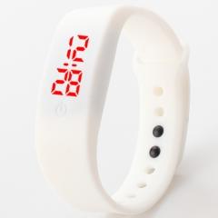 Chong Kai new fashion men and women silicone silicon strap watch sports bracelet digital LED watch white