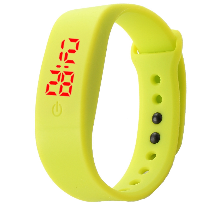 Chong Kai new fashion men and women silicone silicon strap watch sports bracelet digital LED watch yellow 2