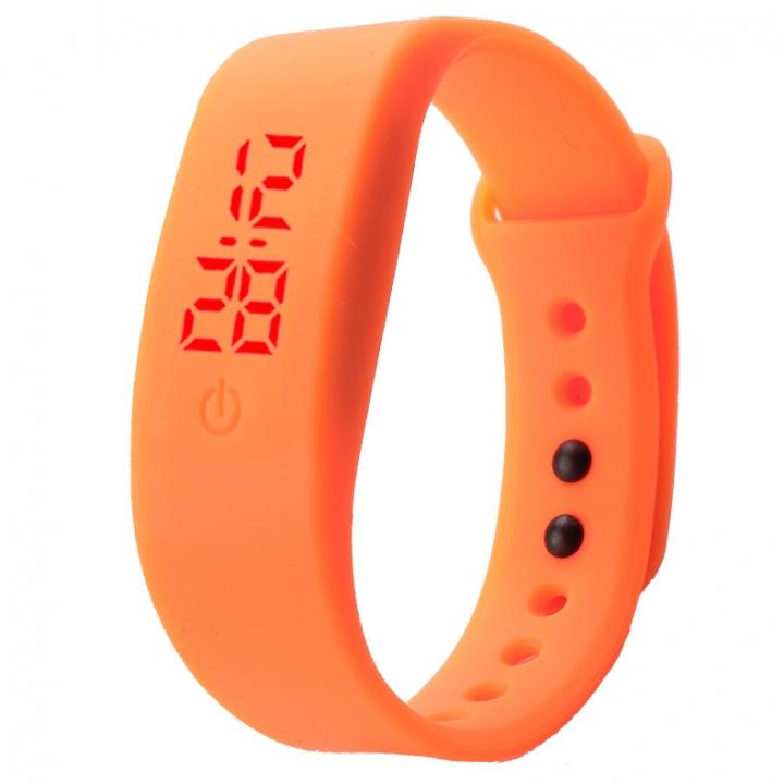 Chong Kai new fashion men and women silicone silicon strap watch sports bracelet digital LED watch Orange