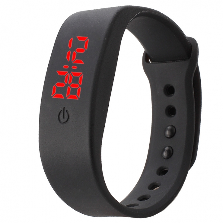 Chong Kai new fashion men and women silicone silicon strap watch sports bracelet digital LED watch black