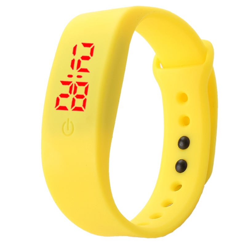 Chong Kai new fashion men and women silicone silicon strap watch sports bracelet digital LED watch yellow 12