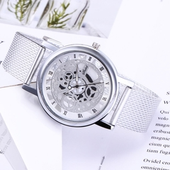 Fashion Wrist Watch Men Women Gear Design Simple Style Wristwatch Belt Watch silver