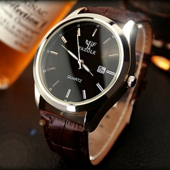 Men Watch Auto Date Business Quartz Watch Waterproof WristWatch Luminous Clock Valentines Gift black brown