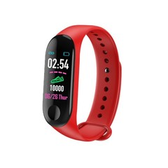 M3 Color Screen Smart Sport Fitness Bracelet Waterproof Blood Pressure Tracker Smart Watch red
