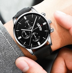 Men Watch leather straps Stainless Steel Good Quartz Luxury Business Man Wristwatch Valentines Gift Sliver (Black Dial Black Strap)